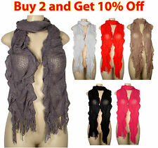 NEW Women Winter Warm Knit Cowl Neck Long Crinkled Scarf Scarves Shawl Wrap