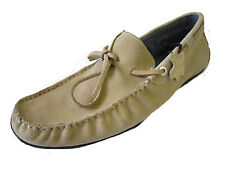 MENS SPOT ON BEIGE CASUAL LEATHER MOCCASIN SHOES