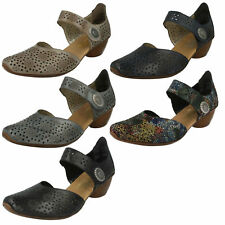 LADIES RIEKER LEATHER VELCRO STRAP FLORAL BLOCK HEEL MARY JANE SHOES 43711