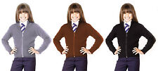 Girls Knitted Stretch Full Zip Front Cardigan Jumper Girls School Cardigan