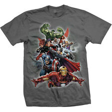 Mens's Official Grey All Your Favourite Marvel Comic Heros Hulk, Iron Man Tshirt