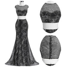 Sexy Sequined Two-Piece Set Evening Prom Dress Long Formal Party Cocktail Dress