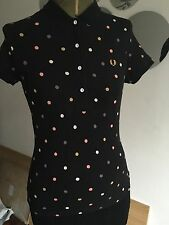 Women's Fred Perry Polka Dot Polo Top Size 8