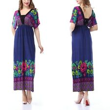 US 8-32 L-6XL Plus Size Woman Summer Long Maxi Dress Casual Print Blue Dresses