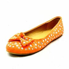 Girls Orange studded with bow detail flat faux suede shoes