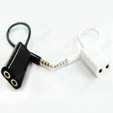 3.5mm Dual Jack Earphone Headset Splitter Cable Adapter for Samsung Cell Phone