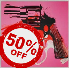 Triple Pistols on Pink [70x70] ANDY WARHOL Pop art Giclee canvas Urban art