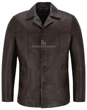 New 4010 Brown Men's Classic Hip Length Coat Real Lambskin Nappa Leather Jacket