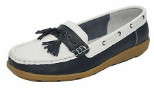 Womens Ladies Real Leather Boat Deck Shoes Loafers Navy Blue White Sz 4 5 6 7 8