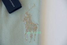 New $198 Ralph Lauren Women Big Pony Rhinestone Bead Polo Shirt M