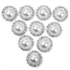 10PCS CRYSTAL PEARL FLATBACK BUTTONS WEDDING EMBELLISHMENT CRAFT