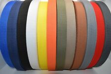 50m Polypropylene Webbing Strap / Tape 15,20,25,30,40,50mm Choice of Colours