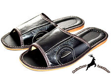 Mens Real Leather Black Soft Footbed Slippers Shoes Sandal Handmade Flip Flop