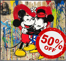 Mickey&Mini [60x60] MR BRAINWASH Modern graffiti street urban art Giclee canvas