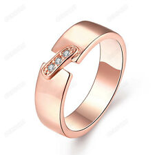 Women Fashion White Cubic Zirconia Simple Band Ring 18K Real Gold Plated Jewelry
