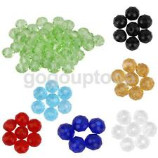 50pcs Crystal Faceted Gem Glass Rondelle Loose Beads Spacer Jewelry Making 4mm