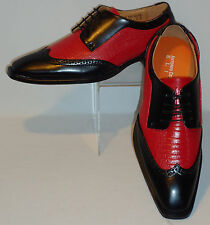 Mens Vintage Black & Red Wing Tip Look Dress Shoes Antonio Cerrelli 6608