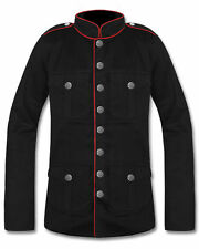 Mens Military Jacket Black Red Goth Steampunk Army Officer Pea Coat All size