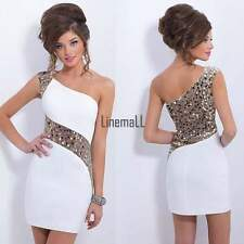 Womens Sexy One Shoulder Sequins Club Bandage Bodycon Party Cocktail Mini Dress