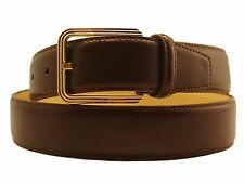 New Men's Marco Valentino Italy Dressy Belt Brown Genuine Leather Gold Buckle