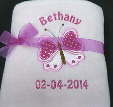 Personalised Embroidered Baby Fleece Blanket Girl  Newborn Gift Butterfly