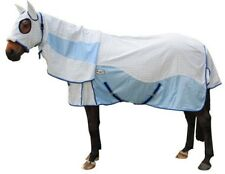 CARIBU HYBRID Attached Hood Horse Rug. Paddock Ripstop, Cool Mesh Inserts. BLUE
