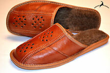 Mens Genuine Cowhide Leather Wool Warm Slippers Shoes Sandal Handmade Poland