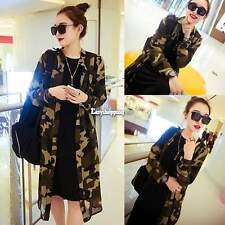 Fashion Women Long Sleeve Chiffon Turndown Collar Long Shirt Top Blouse