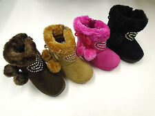 Infant Toddler Baby Girls Faux Suede Flat Winter Fur Boots Shoes Size 5-10 #5114