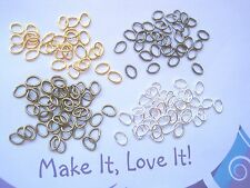 50 x 5mm x 4mm OVAL OPEN JUMP RINGS Silver Plated Bronze Gold Plated Gunmetal