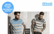Brave Soul Mens Stylish Multi Striped T-Shirt With Pocket Top Sizes S-XL New
