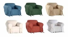 100% Cotton Duck Washable Solid + Bow Tie Round  Arm Chair Slipcover