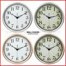 Retro Vintage Wall Clock Clocks Large Modern Kitchen Silver Silent Non Ticking