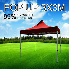 3x3M Red Gazebo Marquee Heavy Duty POP UP Tent Market Outdoor Folding Beach