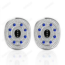 Fashion 925 Silver Plated oval Stud Earrings Lady 3 Color Cubic Zirconia Jewelry