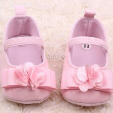 Mary Jane Shoes Baby Girl Ribbon Flower Soft Sole Infant Crib Shoes 4 Colors