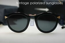 Retro Vintage brand designer sunglasses women black frame smoke polarized lenses
