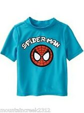 OLD NAVY Boys Swim Shirt Size 12 18 months SPIDERMAN Rashguard Top Blue NEW