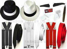 MENS WOMENS GANGSTER PIMP HAT BRACES SPATS SPIV TASH 1920'S  FANCY DRESS COSTUME