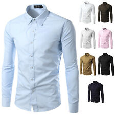 Men Slim-Fit Shirt Casual Suit Formal Collar Tee Tops Button Dress Solid Color