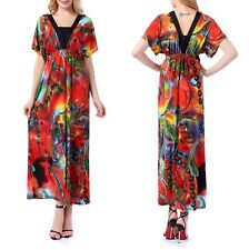 UK 10-34 Plus Size Woman Ladies Kimino Sleeve V-neck Floral Summer Maxi Dresses