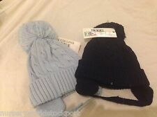 baby babies lined pale blue navy blue bobble bobbles cabled tie hat hats  6-18M