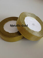22 Metres SINGLE FACED SIDED METALLOC GOLD SATIN RIBBON 6,10,12,15,20mm