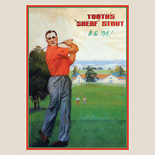 Tooths Golf retro Print 8 Sizes available including Ikea frame sizes beer bar