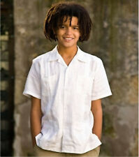GUAYABERA BOYS MEXICAN COPACABANA DE YUCATAN WEDDING ATTIRE PAISLEY WHITE