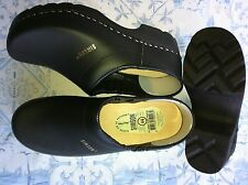 Dutch Leather Wooden Clog Shoes  Black enclosed HUGE WINTER SALE & Free Gift