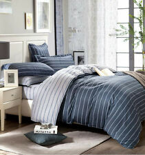 Striped Duvet Doona Quilt Cover Set Double Queen King Bed Size Covers 100%Cotton