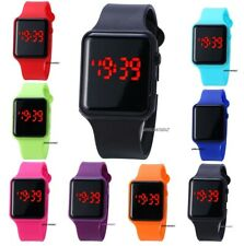 New Digital LED Rectangular Screen Silicon Band Wrist Watch Men Women Kids