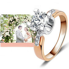 18K Gold Plated Wedding Engagement Ring for Women Zirconia Jewelry Present
