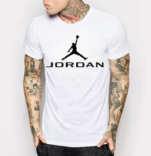 New Men's Michael Jordan Tee Shirt White with Black T-Shirt  M - 3XL